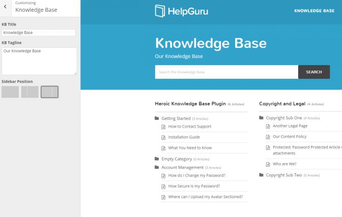 14 HelpGuru customizer settings