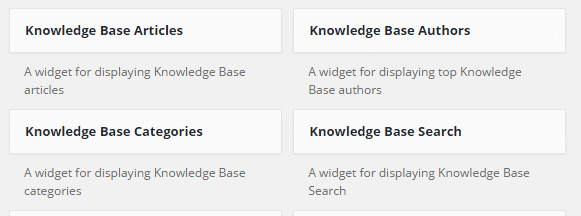 Knowledge Base widgets
