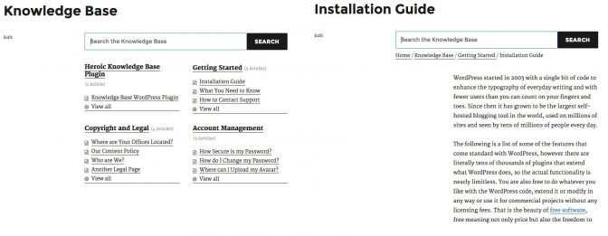 The Knowledge Base contents page and a single article