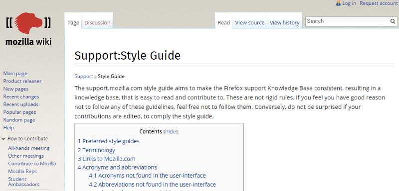 knowledge base style guide example mozilla
