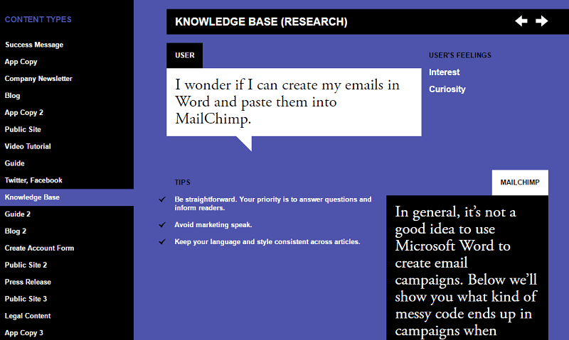 knowledge base style guide example MailChimp